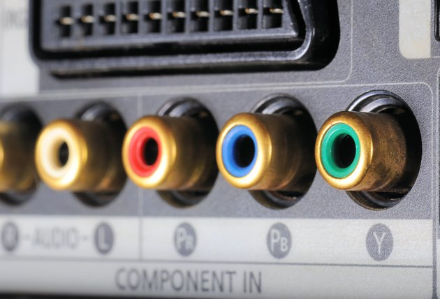 Close-up on digital video recorder on the part connectors.