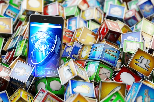 Online store market with mobile phone applications, multimedia technology concept
