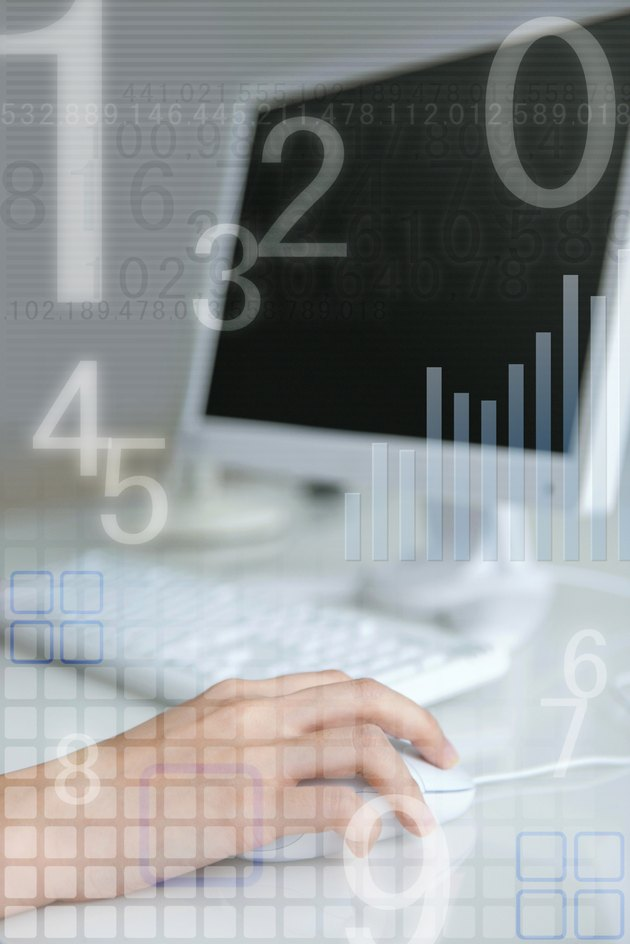 Woman using computer, numbers and graph