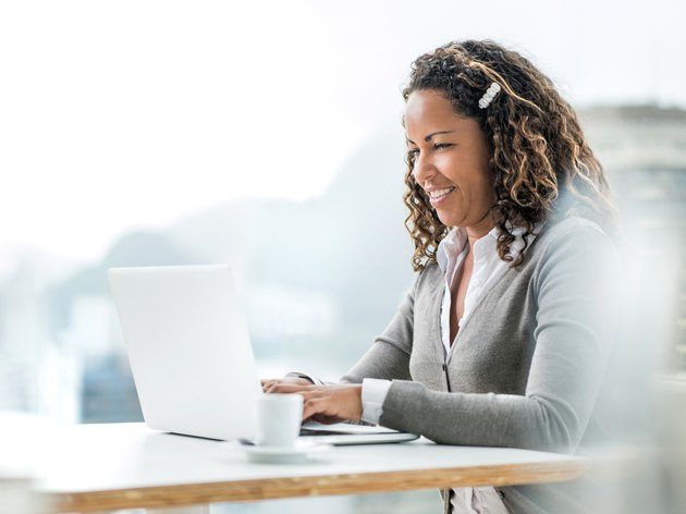 African American businesswoman using computer.