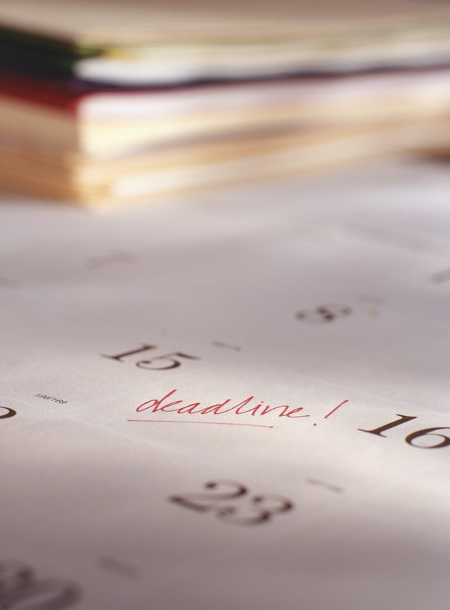 Deadline written on calendar