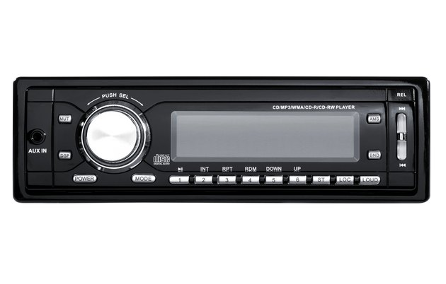 Car radio control panel on white background