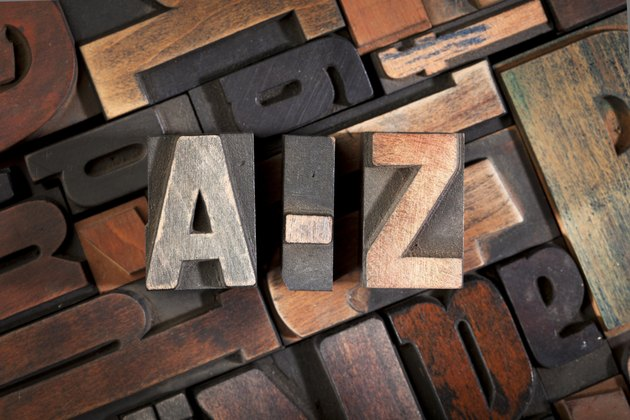 letters A-Z written with antique letterpress type