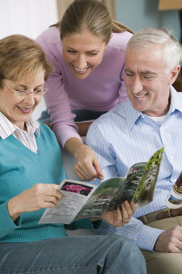Family reading brochure