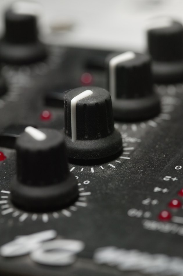 Control dials on sound equipment