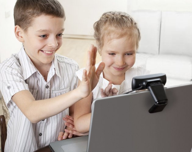 Children communicate with online