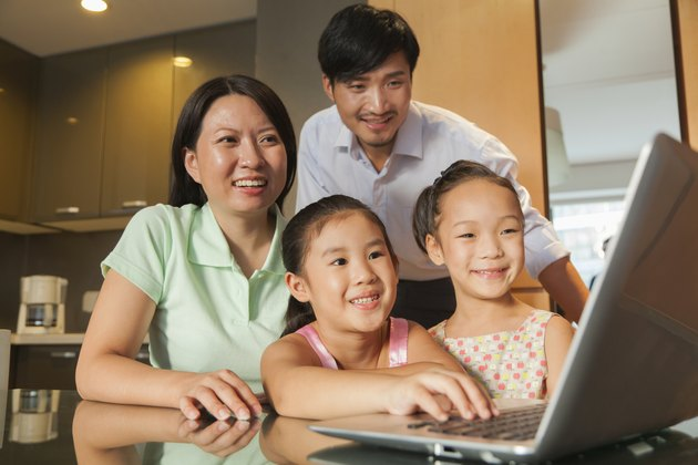 Family watching movie on the laptop