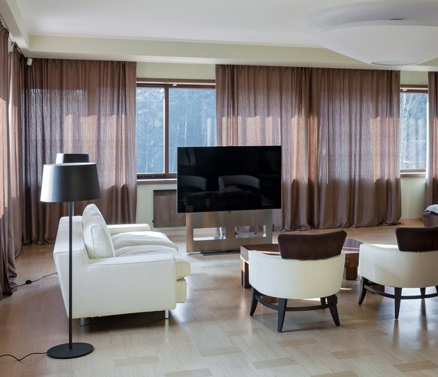 Home modern theater interior with big windows