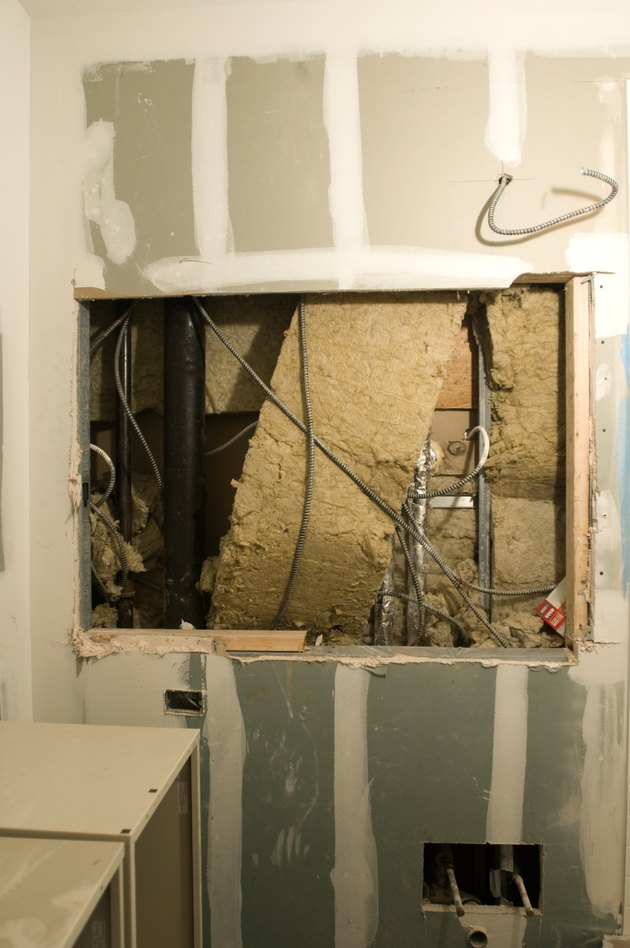 Insulation and wiring at construction site