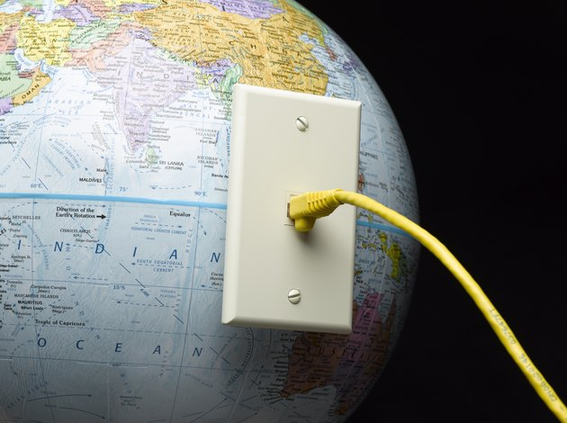 Ethernet cable pluged into globe