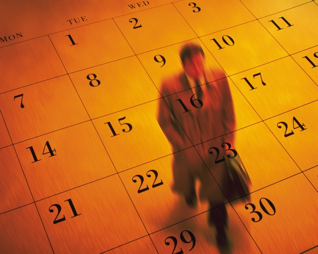 Businessman and calendar, CG, composition, high angle view, blurred motion