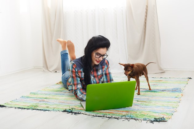 Young girl on white sofa with a laptop