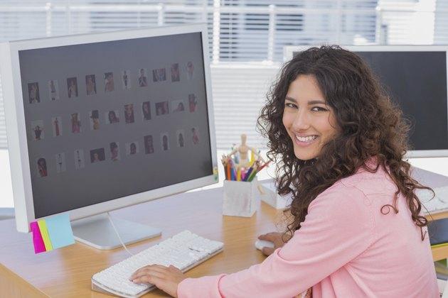 Pretty editor at her desk