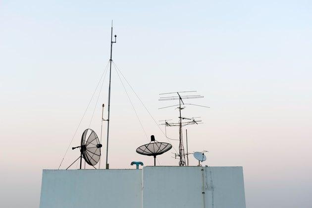 Satellite Dishes and TV antennas  on skyscraper