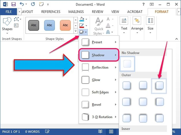 The Shape Effects menu in Word 2013.