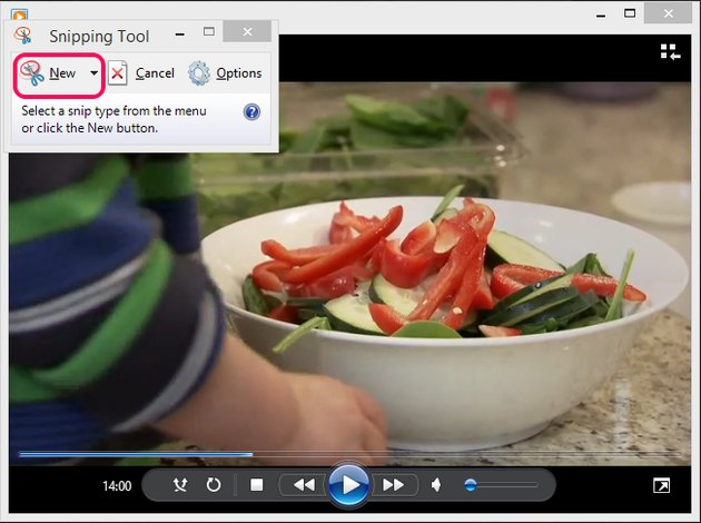 Snipping Tool with New button highlighted.