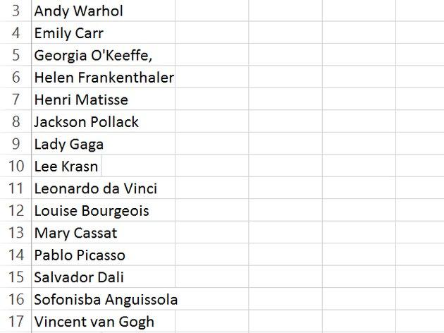 Enter a list of names in column A.