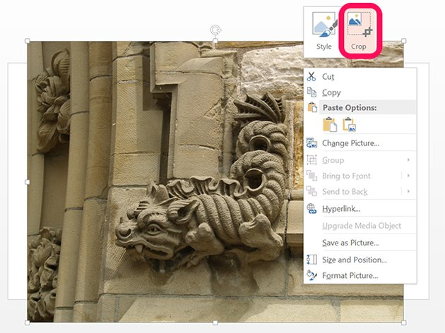 PowerPoint's drop-down menu when right-clicking a photo