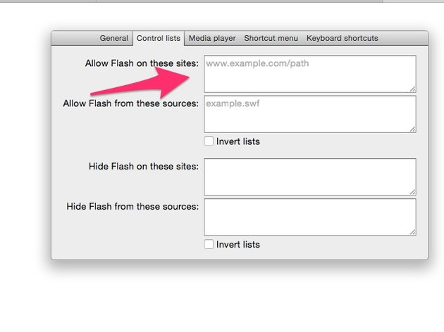 Enter any websites on which to allow Flash
