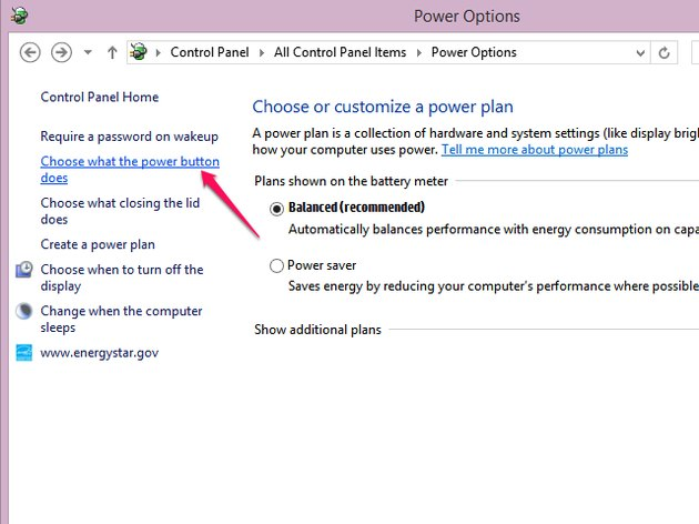 Click Choose What the Power Button Does.
