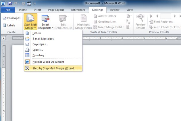 Starting the mail merge wizard in Word
