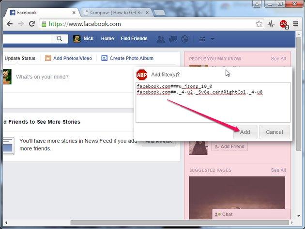 Click Add to create the new Adblock Plus filter.