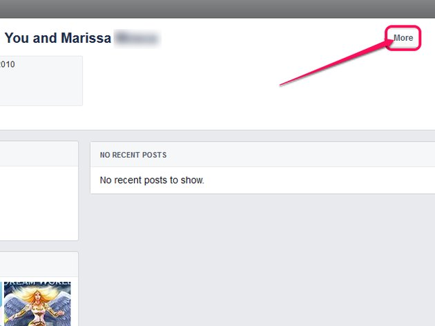 The Friendship page, with the More button highlighted