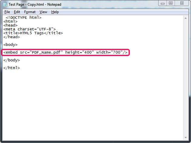 Embed a PDF in a Web page using Notepad.