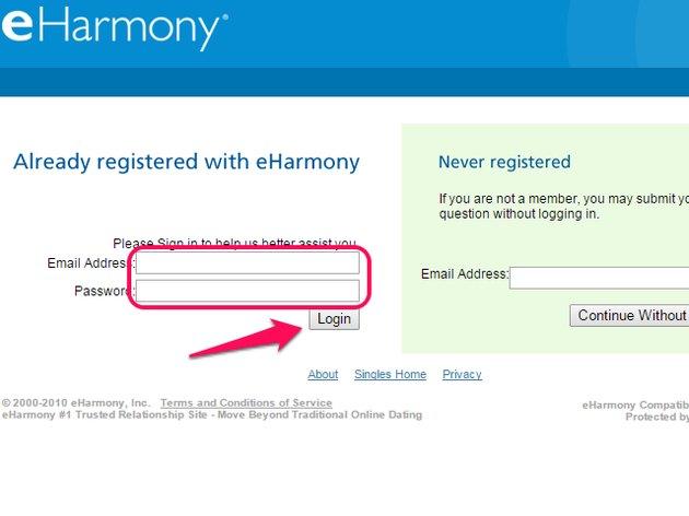 EHarmony support site.