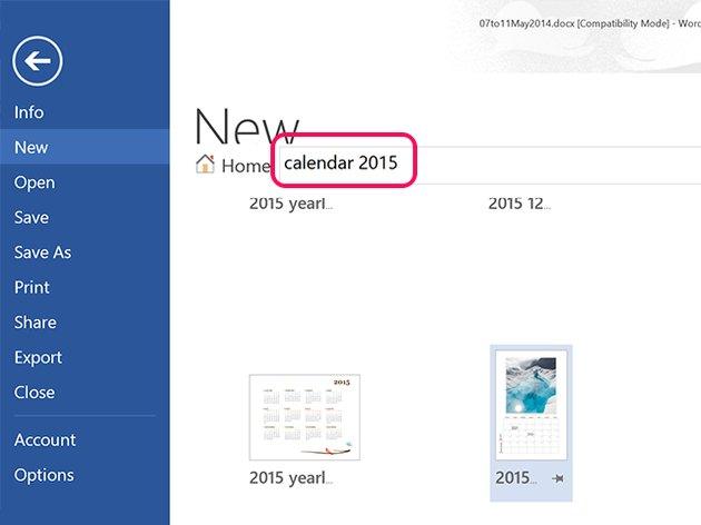 Select a calendar template.