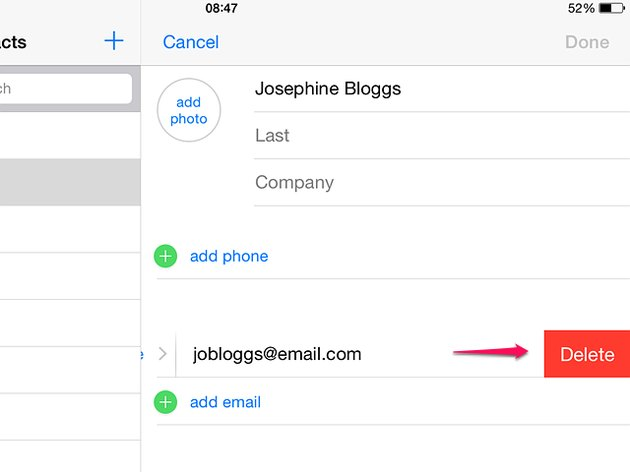 Edit a contact in an iPad's contact list