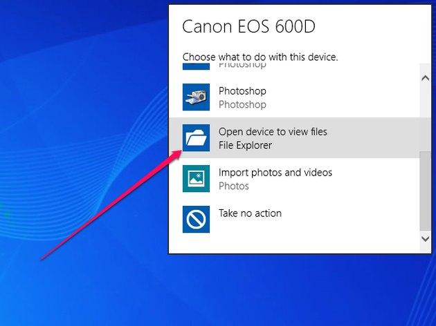 To open File Explorer manually, click Take No Action.