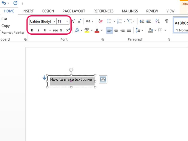 Use font tools to change the text's font, size and style.