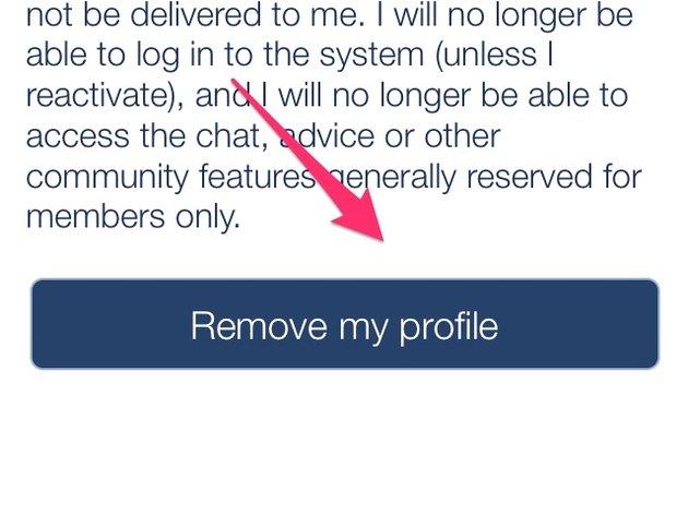 "Touch ""Remove My Profile."""