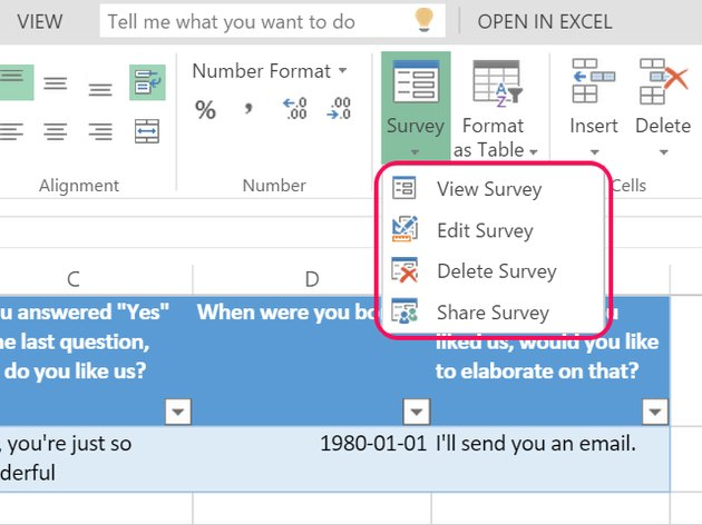 Survey editing and sharing options.