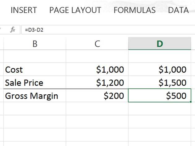 Excel calculates the gross margin as $500.