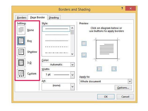 Select the Box option to create your own fancy border.
