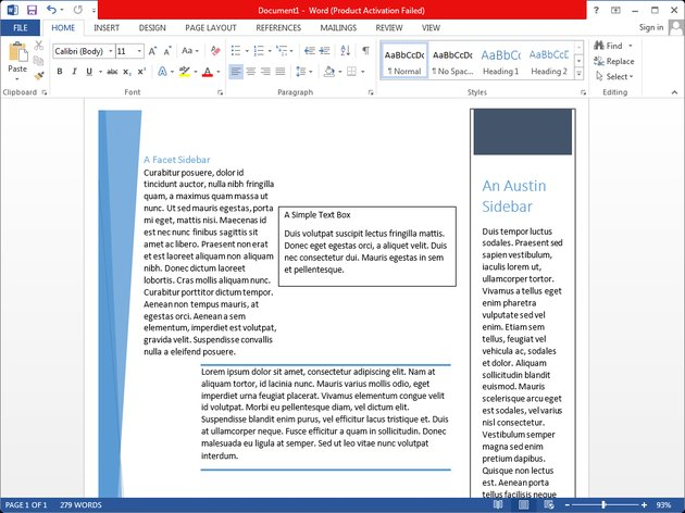 Various text box types in Microsoft Word.