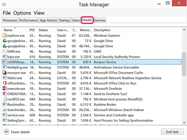 The Task Manager Details tab.