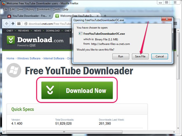 Selecting to save the YouTube Downloader installer.