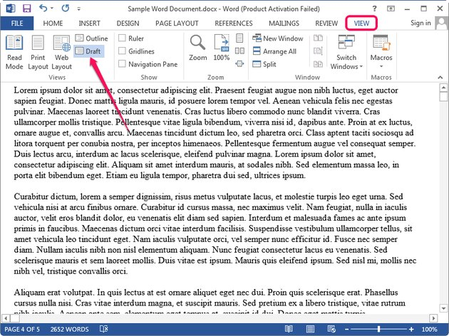Switching to Draft view in Microsoft Word.