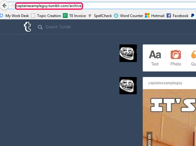 The browser address bar, with the Tumblr blog's address set to archive view.