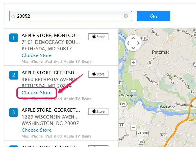 Click the Store button to view an Apple Store's location on the map.