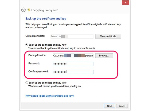 Use a strong password to back up an encryption key.
