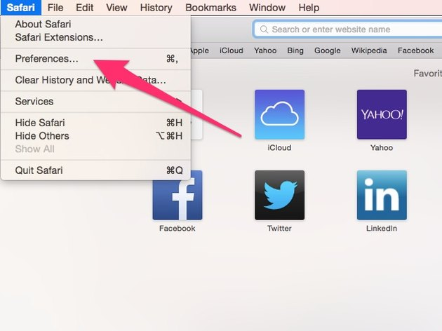 "Click ""Preferences"" in the ""Safari"" menu."