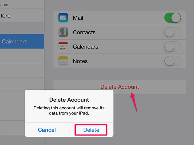 How to delete an email account on an iPad