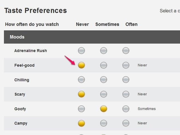 Taste preferences page.
