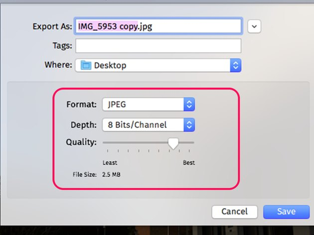 Select JPEG as the Format.