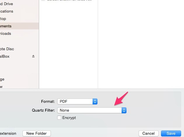 "Choose ""Reduce File Size"" from the Quartz Filter menu."