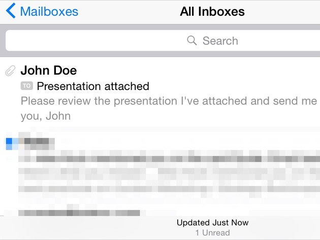 Locate emails with attachments by the paperclip icon to the left of the sender's name.